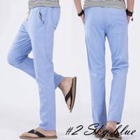 Los hombres de las bragas de cordón Volver pretina elástico hombres de corte recto floja ocasional de las piernas de la cintura elástica pantalones de cintura elástica Pantalones