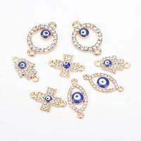 1 PZ Crystal Evil Eyes Fatima mano rotonda incrocio croce charms per le donne uomini in lega oro fai da te fatti a mano orecchino collana gioielli moda gioielli moda