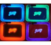Piastra DHL luci LED Vassoio di rollaggio ricaricabile Incandescente illuminato Herb Tabacco Giallo Viola Runtz Imballaggio scatola di carta di rotolamento 420