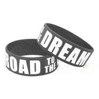 1PC New Road to the Dream Black Silicone Bracelets&Bangles 1 Inch Wide Letter Women Bracelet Men Wristband Armband Gifts SH308