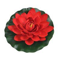 Fleur de lotus de mousse Eva de haute qualité 28cm avec fleurs ENSHROINE LEAFS Simulation aquatique étanche Fleurs artificielles pour l'étang de jardin