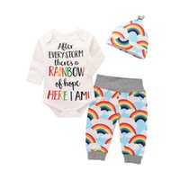 Retail Baby Romper sets cotton Letter rainbow cap 3pcs Outfi...