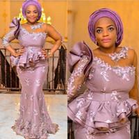ASO Ebi Estilo Mãe de Vestidos De Noiva Ilusão Uma Ombro Meia Mangas Lace Appliques Africano Noite Vestidos De Noite Vestidos De Prom