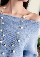 Long Double Layer Simulated Pearls Necklaces Clavicle Fashio...
