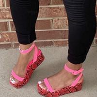 2020 Pembe Platform Ayakkabı Kadın Sandalet Burnu Açık Sandalet Renkli Yılan Bayanlar Yaz Ayakkabı Ayak Bileği Toka Kadın Boyutu Artı
