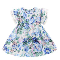 Vieeoease Girls Dress Floral Kids Clothing 2019 Summer Fashion manga corta de encaje vestido de princesa CC-369