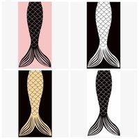 Mermaid Kuyruk Plaj Havlusu Battaniye Dikdörtgen Mikrofiber Mat Battaniye Karikatür Yumuşak Banyo Ev 150 * 75 cm Yetişkin Havlular LXL244