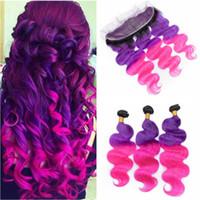 Cabello humano brasileño # 1B Purple Pink Ombre Weave Bundles Body Wave con Frontal 3Tone Ombre 3Bundles con 13x4 Encaje Frontal de cierre