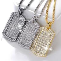 Nouveau cristal flash diamant carrés géométriques hommes collier de diamants et de la chaîne des femmes de gros