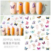 Los más vendidos Y Mariposa serie de uñas Pegatinas 3D clavo del arte del Calcomanías Y88-Y94 6.0 * 9.0cm elemento populares