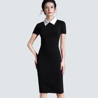 Günlük Elbiseler Kadın Giyim Vintage Siyah Resmi Çalışma İş Ofis Kısa Kollu Bodycon Kılıf Dişli Kalem Elbise 751