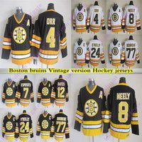 Erkek Boston Bruins CCM Vintage Formalar 4 ORR 8 Neely 77 Bourque 24 O'Reilly 7 Esposito 12 Oates Hokey Jersey