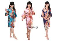2-14 yaş Bebek kız İpek Kimono Robe Pijama Gecelik Pijama Broken Çiçek Kimono İç çocuklar gecelik çocuklar pjms şakayık