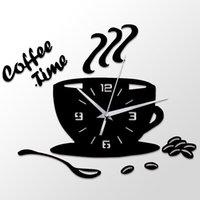 3D DIY акриловые часы стены Современная кухня Home Decor Coffee Time Clock Cup Форма стены наклейки Hollow Цифрой часы