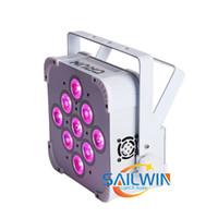 ホワイトケースハイパワー9x18W 6in1 RGBAW UVバッテリー電動ワイヤレスステージLEDフラットパラライトウェディングエフェクトライト