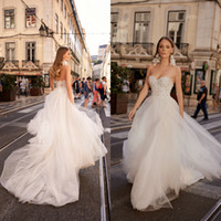 2019 Berta Lace Backless Boho Wedding Dresses Sweetheart A L...
