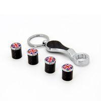 Inghilterra Bandiera Chiave In Fibra di Carbonio Antifurto Pneumatico Valvola Tappo Valvola Copertura Set Tire Parapolvere MT Auto Distintivo Dell'emblema Distintivi