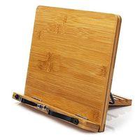 竹の書店調節可能な本のホールダートレイとページペーパークリップの音楽ブックタブレットクックレシピスタンド