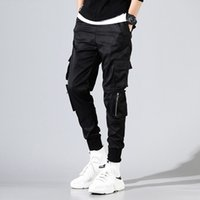 Hip Hop Black Men Joggings été 2020 Hommes grandes poches Pantalon cargo Homme Printemps Streetwear Salopette Sweatpants Harem