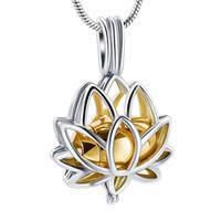 AirAh09 Or Mini Urne Incrusté Gravure Personnalisée Lotus Design Femmes Collier Gardez Vos Aimés Cendres Sûre Crémation Pendentif Bijoux