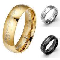 6mm il signore degli anelli nascondigli anelli gioielli in oro argento nero placcato anello potenza uomo donne anello dito