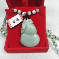Lockets Zheru Jewelry Pure Natural Jadeit Light Green Gurda Monkey Wisiorek Tricolor Jade Koralik Naszyjnik Klasa Prezent Certyfikat Narodowy