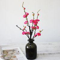 Belle Prune Fleurs De Cerisier Fleurs Artificielle Fleur De Soie Sakura Arbre Branches De Mariage Décoration Maison Table Decor Guirlande