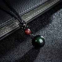 Black Real Obsidian Pendant Necklace Quality Smooth Round St...