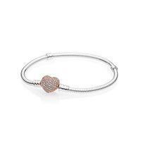 18K وردة نوع ذهب CZ الماس تمهيد القلب المشبك سوار المربع الأصلي للباندورا 925 فضة النساء هدية الزفاف سحر سوار مجموعة