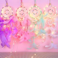 Feather Dream Catcher with 20LEDs String Lights Handmade Wal...