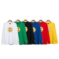Diseñador de moda para hombre de impresión de la letra camisetas flojas de la manga larga de cuello redondo respirable Tee masculinos Breves ocasional pares Tops