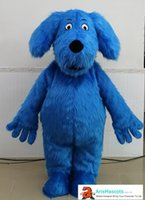 AM8972 Cute Adult Size Fur Blue Dog Mascot Costume for Event...