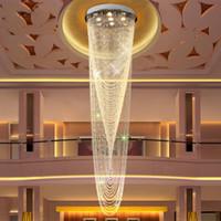 أضواء led التعميم فيلا الدرج طويلة الثريا غرفة المعيشة لفة حبة الستار الكريستال مصباح جو فاخر فندق كريستال الثريات