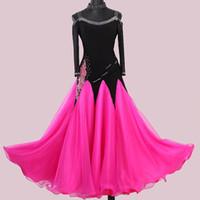 Balo Salonu Elbise Kadın Balo Salonu Dans Yarışması Elbiseler Tango Dans Elbiseler Waltz Elbise Standart Pullu Kostümleri Pembe