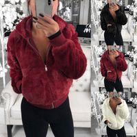 Женская зимнее пальто из искусственных меховых топов с капюшоном высокая талия мода тонкий черный красный розовый искусственный меховой куртку