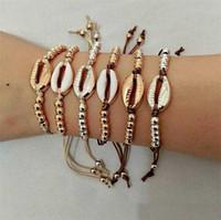 Charm Bracelet Nuovo Summer Gold Silver Colore Shell per corda catena donne rivestono di pelle Bead Bracciali spiaggia della Boemia della miscela dei monili Colori