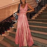 2019 femmes élégantes formelles robes longues à rayures d'été sexy maxi boho style robe de soirée robe profonde col v robe robes plus la taille