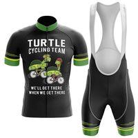 2021 Team Turtle Pro Vélo Jersey 19D Gel Bike Shorts Costume MTB Ropa Ciclismo Mens Vélo Été Maillot Culotte Vêtements
