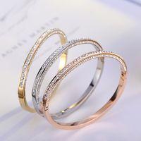 Cristais austríacos pulseiras de aço inoxidável Fahison nupcial Ouro Pulseiras Fina Bangles elegante Jóias