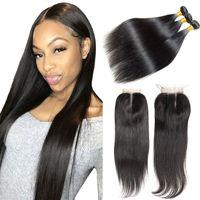 7a 브라질 처녀 인간의 머리 번들 폐쇄 자연 블랙 최고 스위스 레이스 Clsoure 및 더블 씨실 인간의 머리 직조 도매