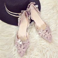 Hot Sale-2019 new sweet wild pointed single shoes women's high heels flowers stiletto bridesmaid shoes