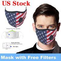Máscaras de los EEUU Stock! Unisex adulta algodón de la cara reutilizable lavable y transpirable Máscara de la bandera americana impresa a prueba de polvo Máscara diseñador