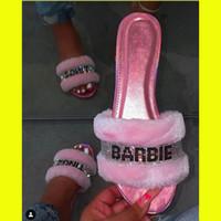 Moda Kadın Terlik Kürklü Fox Kürk Slaytlar Ev Renk Kürk Çevirme Kabarık Peluş Ev Ayakkabı Kadın Sevimli Kış Sıcak Terlik T200411