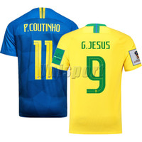Copa Mundial 2018 Coutinho Gesus Firmino camisetas de fútbol Brasil Fútbol  Camisa Brasil Camiseta de fútbol aa5c61ab8678a