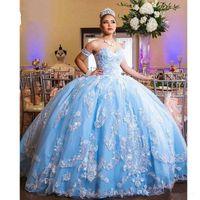 Céu azul Prom Quinceanera Vestidos barato 2020 mangas destacáveis Bola vestidos de bola strapless espartilho de volta laço applique feijão de tule doce 16