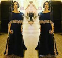 Elegante Blac lange Chiffon- Mutter der Braut-Kleider mit Wrap Gold-Applikationen Plus Size Arabisch Abend-Kleid für Bräutigam Mutter