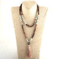 MOODPC أزياء البوهيمي القبلية والمجوهرات 108 قلادة من الخرز الحجر الطبيعي 8MM الشرابة اليوغا قلادة للنساء الوهق القلائد