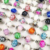 30pcs Moda / lot 100% Natural gem pedra Shell Anel Shell de prata do vintage dedo quebrado de metal Banda Fit Mulheres e Homens charme jóias de partido