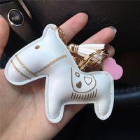 패션 키 체인 매력 귀여운 말 디자인 키 링 자동차 용 Tassel PU 가죽 심장 기념품 열쇠 고리 체인 홀더 가방 펜던트 쥬얼리 선물