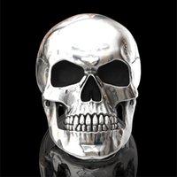New Gothic hohe Detail 316L Edelstahl des glänzenden Schädel Ring Männer Punkparteischmucksachen Größe 6-13